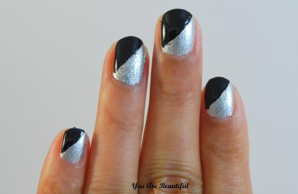 Silver Black Manicure